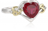 XPY Sterling Silver and 14k Yellow Gold Diamond and Heart-Shaped