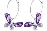 Butterfly Hoop Swarovski Elements Crystal Earrings (Purple)