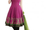 Red violet and Black Cotton Embroidered Anarkali Kameez