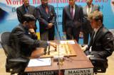 Viswanathan Anand-Carlsen world chess championship game No.8 drawn
