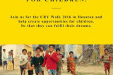 Join CRY Walk 2016 at Houston to Take a Step Forward and Help Fulfill Children's Dreams
