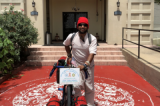Somen Debnath Visits Houston on his World Bicycle Tour for HIV/AIDS and Indian Culture