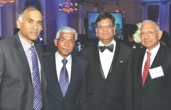 Consul General of India P. Harish (left) with India House benefactor Swatantra Jain, India House President Jugal Malani and India House trustee Durga Agrawal. Photos: Bijay Dixit.