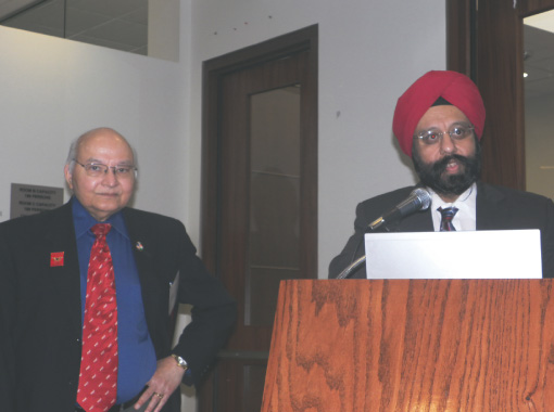 Dr. Mandeep Bajaj opened the Metabolic Syndrome professional seminar at India House last Saturday, February 9 which he helped organize with Dr. Virendra K. Mathur  (left).