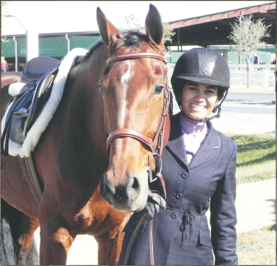 Kavita and Gwendolyn, one of the many sale horses she rides for her trainer.