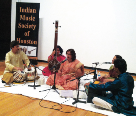 Classical music vocalist Arati Ankalikar (center) was accompanied by Pandit Shantilal Shah on the tabla, Varsha Halbe on the tanpura, Aparna Shah on vocals and Milind Kulkarni on the harmonium. In the second half, Sruti Sample was the accompanist on the tanpura.