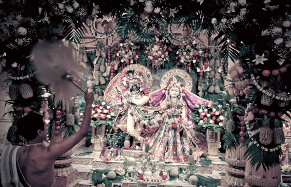 Beautifully decorated Sri Sri Radha Nilamadhava.