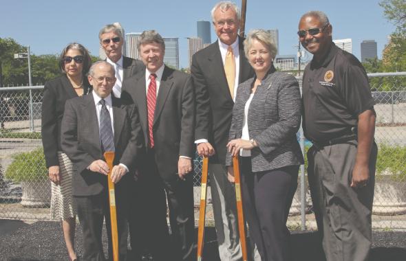 From Left (first row): Elliot Gershenson, Judge Ed Emmett, Bill King, Mayor Annise Parker, Council Member Andrew Burks, (second row) Dr. Fatima Mawji, Council Member Jack Christie