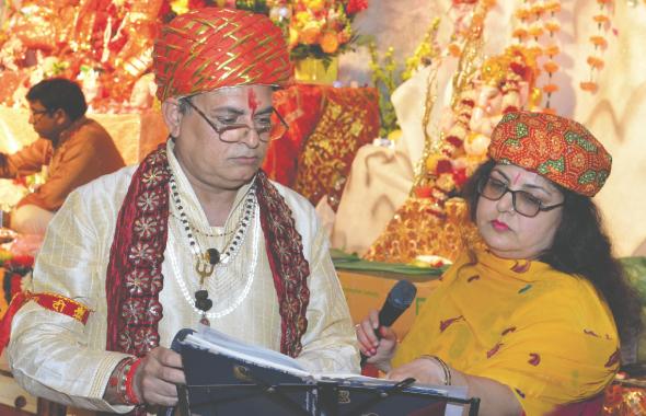 Ravi Shankar Puri with his wife Savita Puri at Sri Radha Krishna Temple on April 13.  Photo: Bijay Dixit