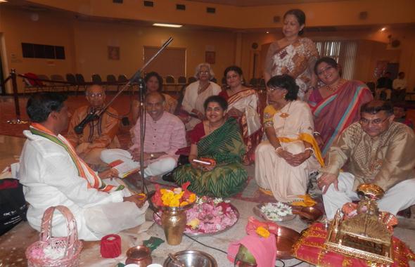 From Left. Dr. Bishnupada Goswami, Dr. Amrit Achari, Consulate General P. Harish, Nandita Harish, Mridula Karna, Kalpana Mookerjee, Gauranga Mookerjee, and others.