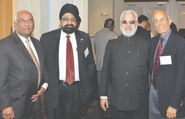 From Left: Dr Sen Pathak(MDACC), Jagdip Ahluwalia, Delhi State Cancer Institute Director Dr. Rakesh Kumar Grover, and Dr Sewa Singh Lega.