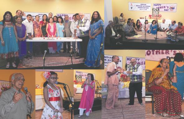 """Clockwise from top left: The ICC Board with ISCA President Lalit Chinoy (second from right); the Banke Bihari family singing bhajans onstage; """"Maasi"""" Vilas Praful sings Gujarati folk songs; ICC Trustee Meera Kapur; six year-old Eesha Dhairyawan sings a Hindi poem; Surender Talwar sings a bhajan."""
