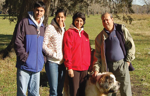 A family picture, from Left: son Atma, daughter Anasuya, wife Kanchan along with Jay Kabad.