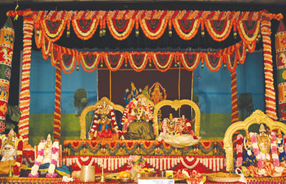 From left: Lord Ganesha, Lord Chandikeshwara, Lord Venkateshwara, Goddess Meenakshi, Lord Sundareswara and Manonmani , Lord Muruga with Valli and Theyvayanai.