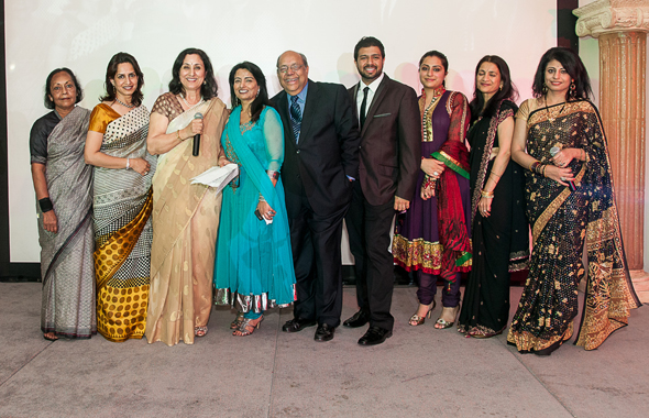 SAM Board members on stage after the program with president Veena Kaul (third from left)            Photo: Roberto Morales