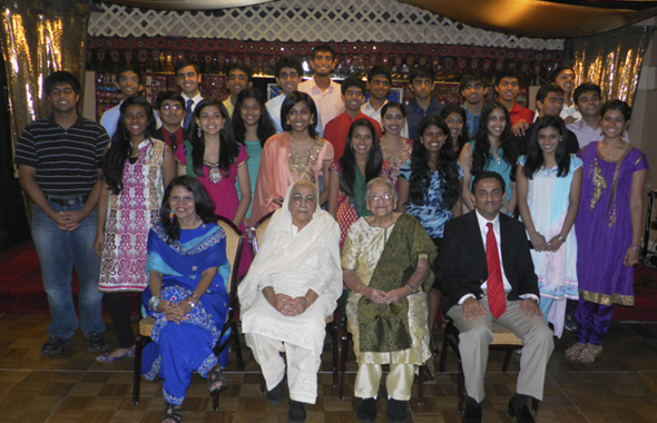 The graduating students posed with (seated from left) Sonal Bhatt, Pres. ICC Clear Lake; Shakuntla Malhotra, author of Mama's Favorite Recipes; Radha Golikeri, organizer of the event and Pankaj Dhume, Pres. IACCGH and keynote speaker.