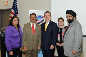 From left: Dr Ritu Raju (HCC), Pankaj Dhume, Dr. Zachary Hodges (HCC NW President), Sandra A Louvier (HCC) and Jagdip Ahluwalia (IACCGH).               Photo: Bijay Dixit