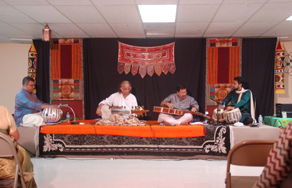 From left: Dexter Raghunanan, Ustad Aashish Khan, Kaushik Roy, Raja Banga.