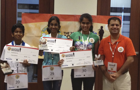 From left: First Runner Up Shourav Dasari of Pearland, TX alongside Regional Champ Shobha Dasari of Pearland, TX; Second Runner Up Himanvi Kopuri of Denver, CO with Rahul Walia, Founder of the South Asian Spelling Bee.
