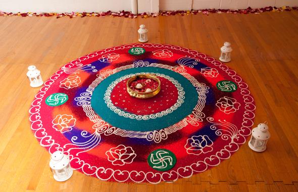 A decorative rangoli was created by Sangita Bhutada
