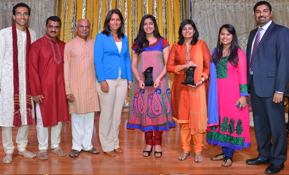 From Left: Neeraj Salhotra, Dr. Keyur Patel, Sharad Amin, Congresswoman Tulsi Gabbard, Kaushik Tewary, Garima Doshi, Niyati Vaidya, and Dr. Snehal Desai.          Photos: Bijay Dixit