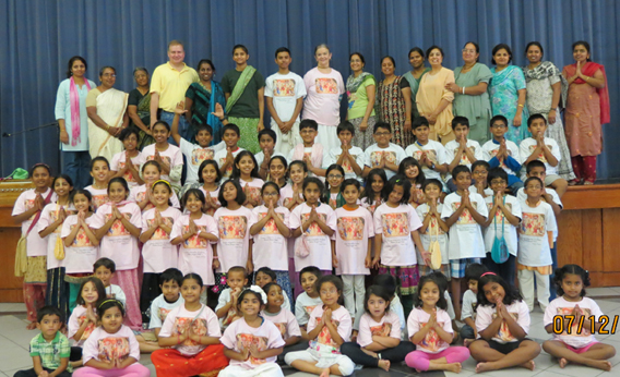 Teachers and students at the fun-filled Gita Camp held the week of July 8 at the Hare Krishna Dham (ISKCON) temple.