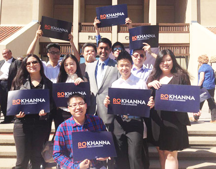 Ro Khanna, center, seen kicking off his congressional campaign at the Flint Center in Cupertino, Calif. (Christine Fang photo via Facebook) Read more at http://www.indiawest.com/news/12015-candidate-ro-khanna-2-million-dollar-man.html#Cw7F3DlcFdYhyO7s.99