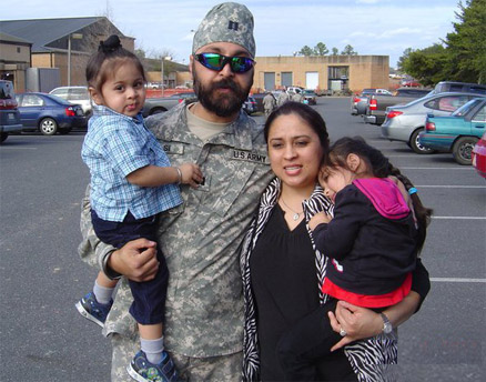 U.S. Army Major Kamaljit Kalsi is shown here with his wife Chinar and their two children before his 2011 deployment to the Helmand Province in Afghanistan, where he headed up a field hospital. (Ranjeet Kalsi photo via Facebook) Read more at http://www.indiawest.com/news/12151-crowley-urges-defense-to-allow-turbaned-sikhs-in-u-s-military.html#zuPwmVxjltTWHQoG.99