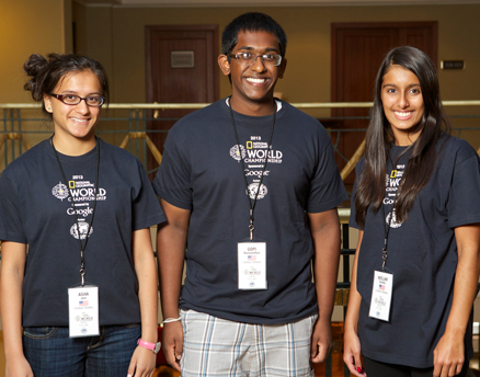 (Left-r) Asha Jain, Gopi Ramanathan and Neelam Sandhu represented the United States to win the 11th National Geographic World Championship July 31 in St. Petersburg, Russia. (National Geographic photo) Read more at http://www.indiawest.com/news/12689-indian-american-kids-ace-world-geography-championship.html#JAqU7JiO6lVmhGdL.99
