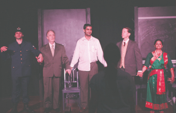 "From left: Jeff Dorman as Fermat, John Kaiser as Hardy, Taher Lokhandwala as Ramanujan, Bradley Winkler as Alfred Billington and Anjana Menon as Goddess Namagiri in Shunya Theatre's play ""Partition"" directed by Sara Kumar.             Photos: Navin Mediwala"