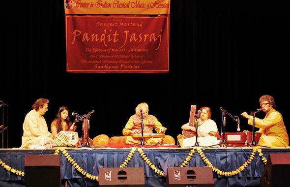 Sangeet Martand Padma Vibhushan Pandit Jasraj-ji in Concert, with Pandit Swapan Chaudhuri on Tabla, Pt. Suman Ghosh and Pta.Tripti Mukherjee on Vocal Support, Amiya and Apurva Ghosh on Tanpura.      Photo: Narayan Swaminathan
