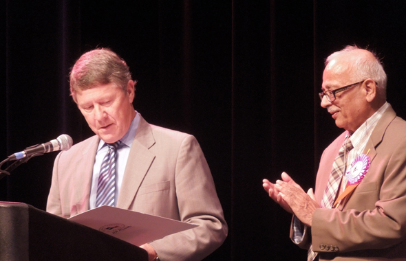Judge Ed Emmet and ISCA president Lalit Chinoy at the convention.