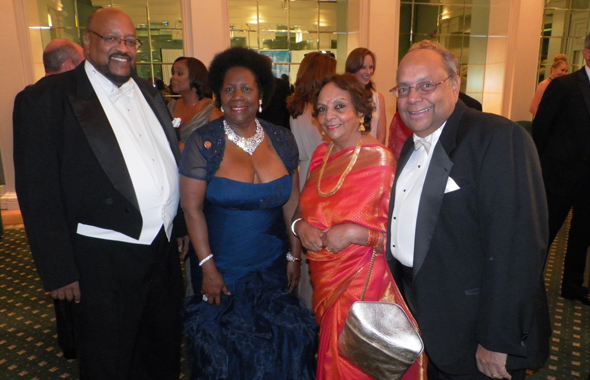 Nat and Leela Krishnamurthy with US Congresswoman Sheila Jackson Lee and her husband Dr. Elwyn C. Lee, VP for Community Relations at the University of Houston.