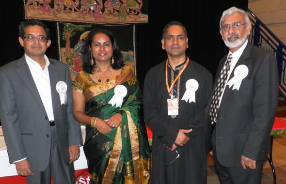The organizers of the AIM for Sewa fundraiser held last Friday night, October 4 before the event. From left: G.N. Prasad, Suma Mudan, Chandrashekar Ragunandan and Krishna Mudan. Photos: Jawahar Malhotra