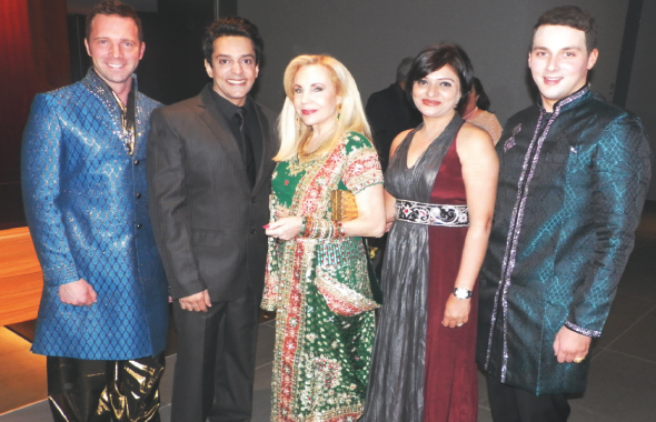 Actor Ajay Gehi of The Good Road (second from left) and his wife with Carolyn Farb (center) and other guests.
