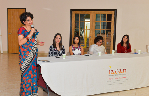 IACAN President Kanchan Kabad speaks before the start of the seminar on breast cancer last Sunday, October 20 at the Ashtalakshmi Temple.