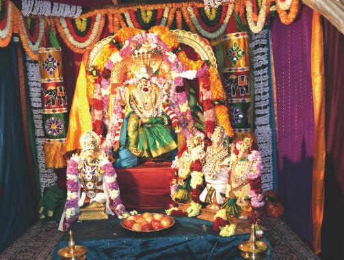 Sri Viasalakshi ( Shakthi) with Ganesha and Murugan