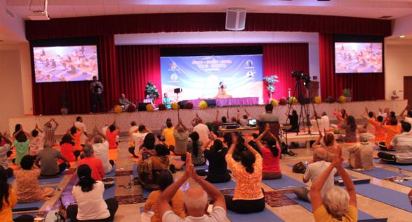 Swami Ramdev ji yoga session in Houston.