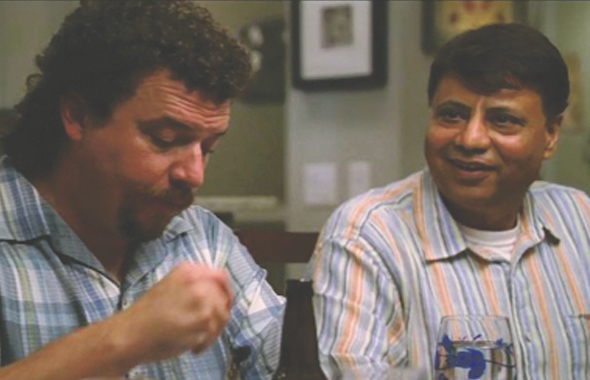 "Raj Vats (right) as the next door Indian neighbor ""Tel"" with the star character Kenny Powers (Danny McBride) on HBO's EastBound & Down sitcom."