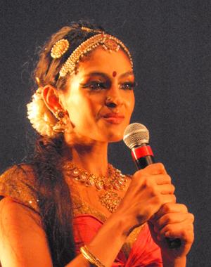"The dancer and choreographer of the dance ""Prabhavati"", Rukmini Vijayakumar  introduced the cast after the end of the performance."