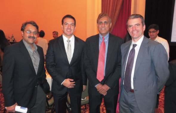At the Indian Doctors Association Holiday Networking luncheon last Saturday, November 16, from left, Dr. Uttam Tripathy, IDA President with financial advisors from the event sponsor Morgan Stanley: VP Diego Patino, Gary Iyer Financial Advisor and Jeffery Thomas, Sr. VP.         Photos: Jawahar Malhotra