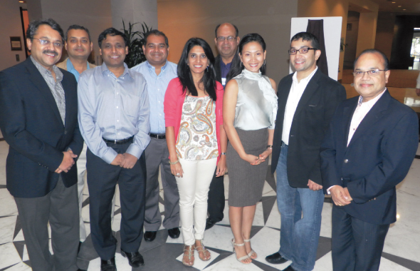 From left: IDA President Uttam Tripathy with Board Members Subodh Chauhan, Prasun Jalal, Manish Gandhi, Swati Joglekar, Nik Nikam, Executive Director  Kristin Ferrer, Jignesh Shah and Ashok Tripathy