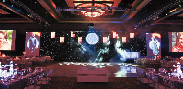 The center stage of the reception at the Hilton Americas.