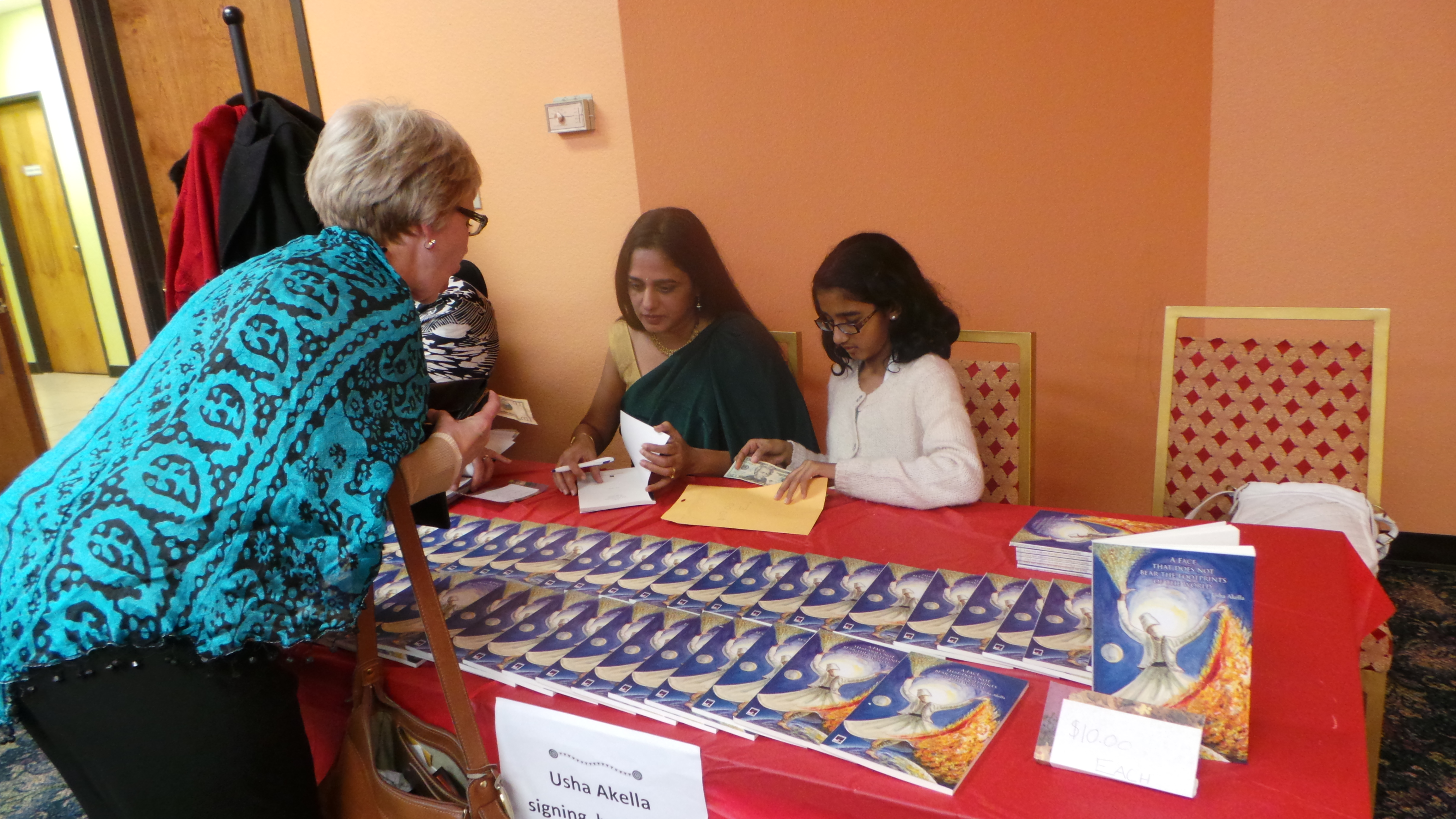 Usha Akella with her daughter Anannya at the book signing in Austin