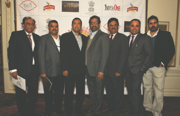 The core group of New York restaurateurs supporting India Festive Food Week. From left: Mohan Ahluwalia of Bombay Palace; Hemant Mathur, Tulsi; Rajesh Bhardwaj, Junoon; Shiva Natarajan, Chola; Nitin Vyas, Madras Mahal; Kamal Arora, Arora Hospitality Group and Ravi Pillai of Bombay Duck Company, at the announcement at the Indian Consulate.    (Photo: Gunjesh Desai, Masala Junction)