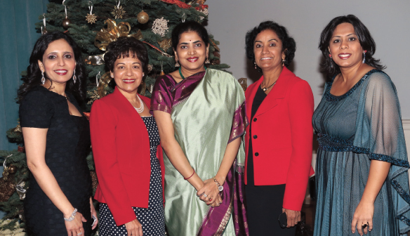 Asha Dhume  Luncheon Co-Chair, Marie Goradia Pratham Houston President,  Nandita Harish [wife of consul general of India], Annu Naik Luncheon Co Chair, Leena Shah Host committee Chair.