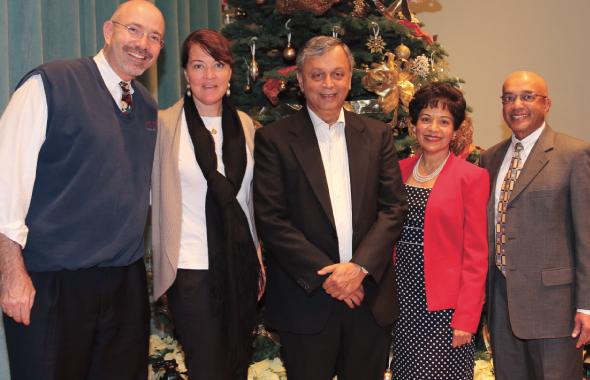 Keynote speaker Mike Feinberg and his wife Colleen, Co Founder of Pratham Dr. Madhav Chavan, Pratham Houston President Marie Goradia, Pratham USA Founder Vijay Goradia.