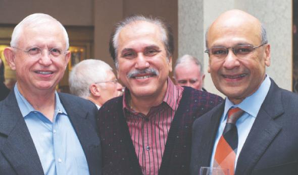 Jerry Smith (left) and Ajay Shah (right) flank Jawahar Malhotra who has known both men for many years.