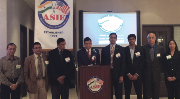 From left:  Harshad Patel, Raghu Dass, Showri Nandgiri - VP, Sekhar Amadapuri - President, Raj Basavaraju - Treasurer, Rajesh Tolikonda - Secretary, Mahendra Korivi, and Sai Gowthami.