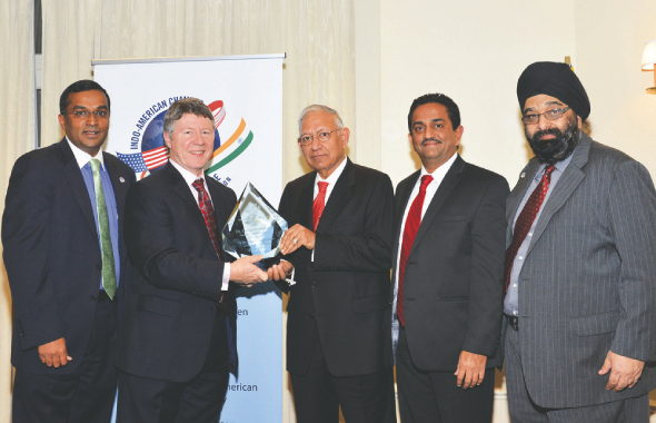 From left: Sanjay Ramabhadran, Harris County Judge, Ed Emmett, Dr. Durga Das Agrawal, Pankaj Dhume and Jagdip Ahluwalia.